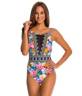 La Blanca Swimwear Tropicali Hi-Neck Plunge One Piece Swimsuit