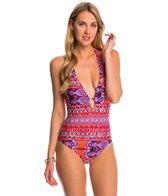 La Blanca Swimwear Global Perspective Plunge Halter One Piece Swimsuit