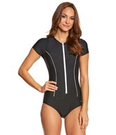 Next Women's Good Karma Malibu S/S One Piece Swimsuit w/ White Piping