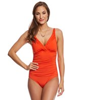 Jantzen Solid Signature Pin-Tucked Surplice One Piece Swimsuit