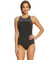 Speedo Women's Endurance+ Stripe High Neck One Piece Swimsuit