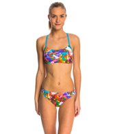 Adidas Women's Layered Floral Scoop Two Piece Swimsuit