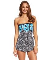 Maxine Zebra Garden Bandeau Sarong One Piece Swimsuit