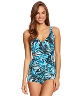 Maxine Twilight Tropical Surplice Sheath One Piece Swimsuit