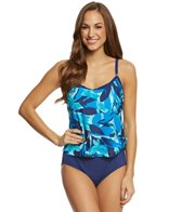 Maxine Kaley Scoop Faux Tankini One Piece Swimsuit
