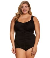 Maxine Plus Size Solid Spa Chlorine Resistant Shirred Girl Leg One Piece Swimsuit