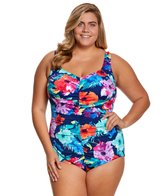 Maxine Plus Size Azela Shirred Girl Leg Spa Chlorine Resistant One Piece Swimsuit