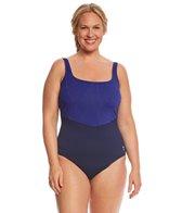 TYR Women's Monroe Stripe Aqua Controlfit Plus Size One Piece Swimsuit