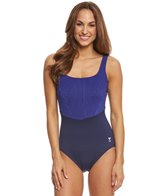 TYR Women's Monroe Stripe Aqua Controlfit One Piece Swimsuit