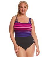 TYR Women's Ombre Stripe Aqua Controlfit Plus Size One Piece Swimsuit