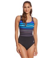 TYR Women's Ombre Stripe Aqua Controlfit One Piece Swimsuit