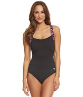 TYR Women's Bellvue Stripe Square Neck Controlfit One Piece Swimsuit