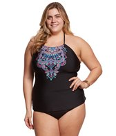 Kenneth Cole Reaction Plus Size Dream Weaver High Neck Tankini Top