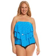 Coco Reef Plus Size Clarity Dots Aura Ruffle Bandini Top (C/D/DD Cup)