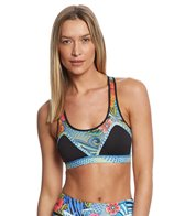 Luli Fama Women's Inked Babe Crossed Back Mesh Sport Bra Top