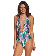 MINKPINK Texta Tropical Plunge One Piece Swimsuit