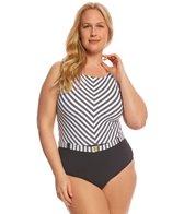 BLEU Rod Beattie Plus Size Cruise Control High Neck X-Back One Piece Swimsuit