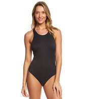 Vince Camuto Tahiti Texture Cut Out High Neck One Piece Swimsuit