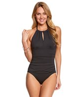 Tommy Bahama Pearl Solids High Neck Halter One Piece Swimsuit