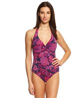 Tommy Bahama Jacobean Floral Halter Twist One Piece Swimsuit