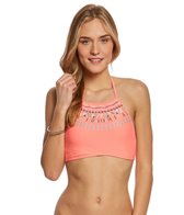 Hobie Swimwear Solid Embroidered High Neck Bikini Top