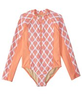 Cabana Life Girls' UPF 50+ Nantucket Sound L/S One Piece Swimsuit (2T-6X)