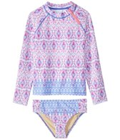 Cabana Life Girls' UPF 50+ Malibu Arrows Rashguard Swim Set (6mos-6X)