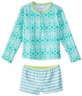 Cabana Life Girls' UPF 50+ Sunshine Shores Rashguard Swim Set (6mos-6X)