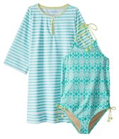Cabana Life Girls' UPF 50+ Sunshine Shores Swimsuit & Cover Up Set (7-14)