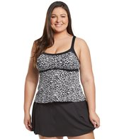 33147c980b Delta Burke Plus Size Animal Garden Triple Shirred Tankini Top at ...