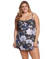 Shape Solver Plus Size Chelsea Floral Empire Bow Swimdress