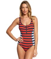 Tommy Hilfiger Indy Stripe Scoop Neck One Piece Swimsuit