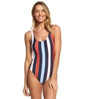 Tommy Hilfiger Speedy Stripe Deep Scoop Neck One Piece Swimsuit