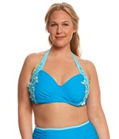 Paramour Plus Size Zanzibar Lace Trim Halter Bikini Top