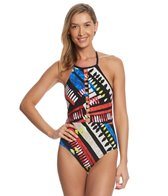 La Blanca African Beat High Neck Plunge One Piece Swimsuit