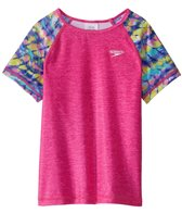 Speedo Girls' Printed Short Sleeve Rash Guard (7-16)