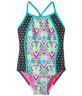 Speedo Girls' Diamond Geo Splice One Piece Swimsuit (4-6X)