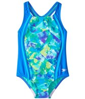 Speedo Girls' Tie Dye Sky Sport Splice One Piece Swimsuit (4-6X)