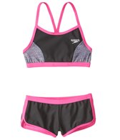 Speedo Girls' Heather Splice Boyshort Two Piece Bikini Set (7-16)