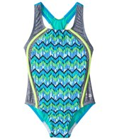 Speedo Girls' Digi Zig Zag Heather Sport Splice One Piece Swimsuit