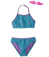 Jump N Splash Girls' Sea Adventure Halter Bikini Set w/Free Goggles (7-14)
