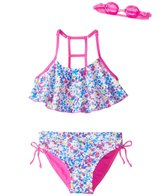 Jump N Splash Girls' Flower Child Crop Bikini Set w/Free Goggles (7-14)