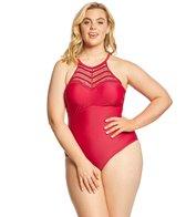 Raisins Curve Plus Size Flamingo Solids Lotus One Piece Swimsuit