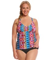 Raisins Curve Plus Size Around The World Breaker Macrame Tankini Top