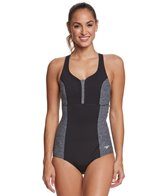 Speedo Women's Endurance+ Texture Touchback One Piece Swimsuit