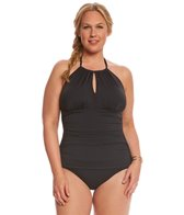 Tommy Bahama Plus Size High Neck Halter One Piece Swimsuit