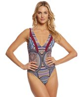 Red Carter Tribal Daze V-Neck One Piece Swimsuit