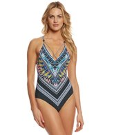 Red Carter Feather Warrior Strappy One Piece Swimsuit