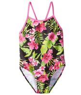 Tidepools Girls' Hibiscus Contrast Cross-Back One Piece Swimsuit (7-14)