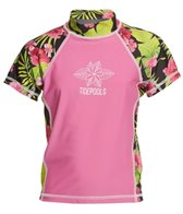 Tidepools Girls' Hibiscus Short Sleeve UV 50+ Rashguard (2-14)